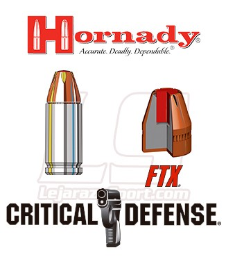 Cartuchos Hornady Critical Defense Lite 9mm Luger 100 grains FTX