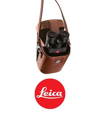 Estuche de cuero marrón para prismáticos Leica 10x25