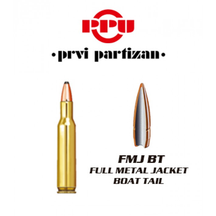 Cartuchos Prvi Partizan .222 Remington 55 grains FMJBT