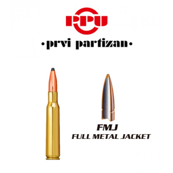 Cartuchos Prvi Partizan .30-06 Springfield 123 grains FMJ