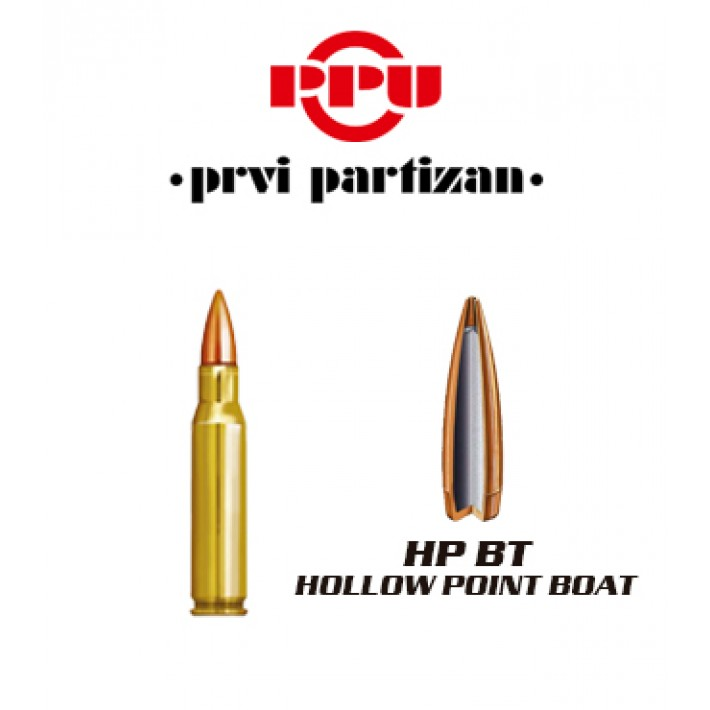 Cartuchos Prvi Partizan .308 Winchester 168 grains HPBT