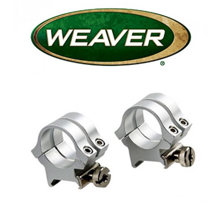 """Anillas desmontables Weaver Quad Lock de 1"""" cromadas - Medias - Carril 11mm"""