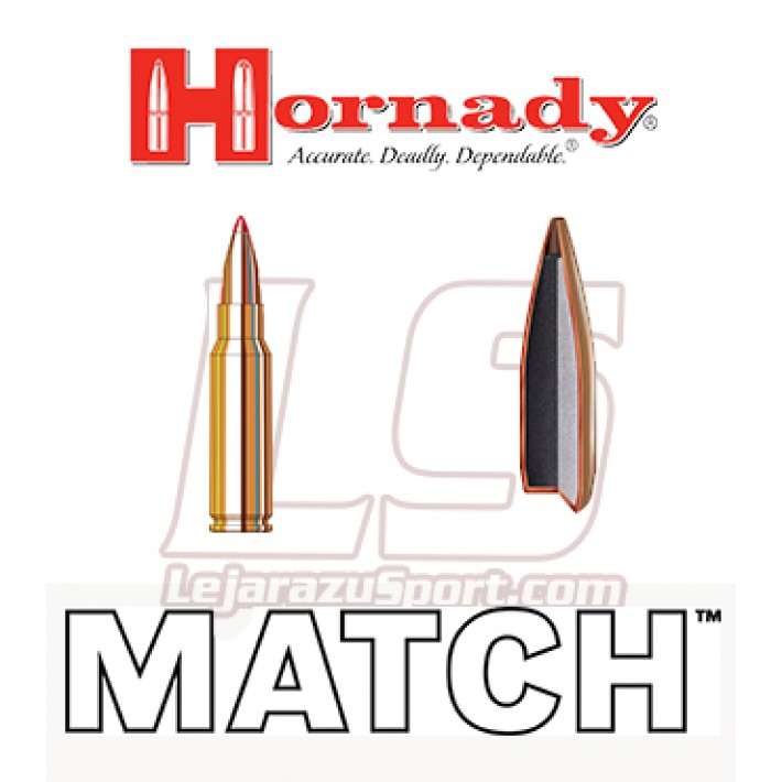 Cartuchos Hornady Match .308 Winchester 155 grains BTHP