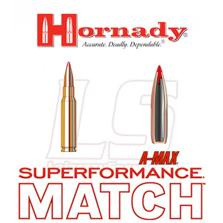 Cartuchos Hornady Superformance Match .308 Winchester 168 grains A-Max