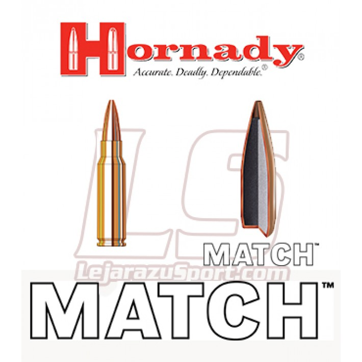 Cartuchos Hornady Match .308 Winchester 168 grains BTHP