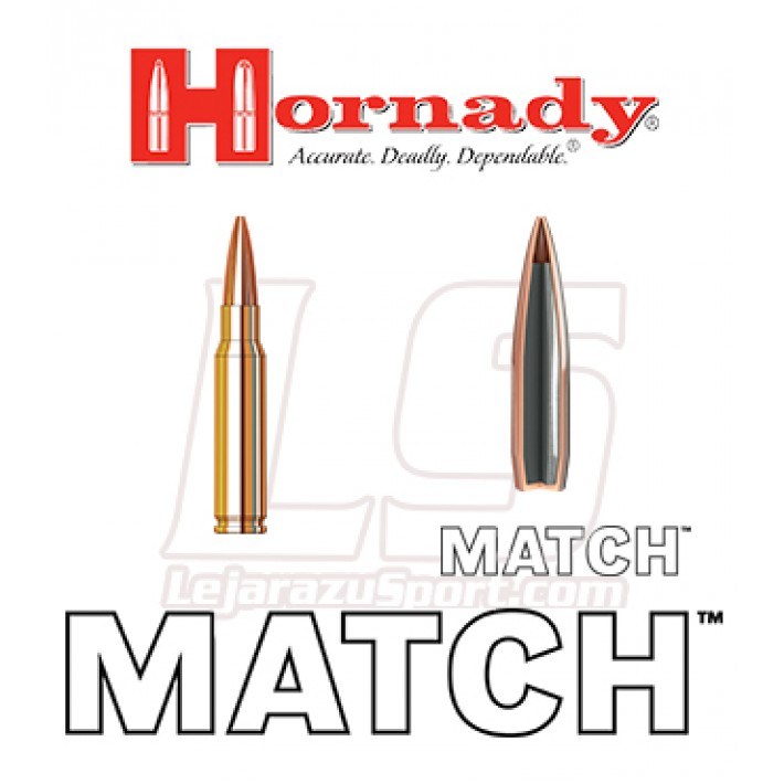 Cartuchos Hornady Match .308 Winchester 178 grains BTHP