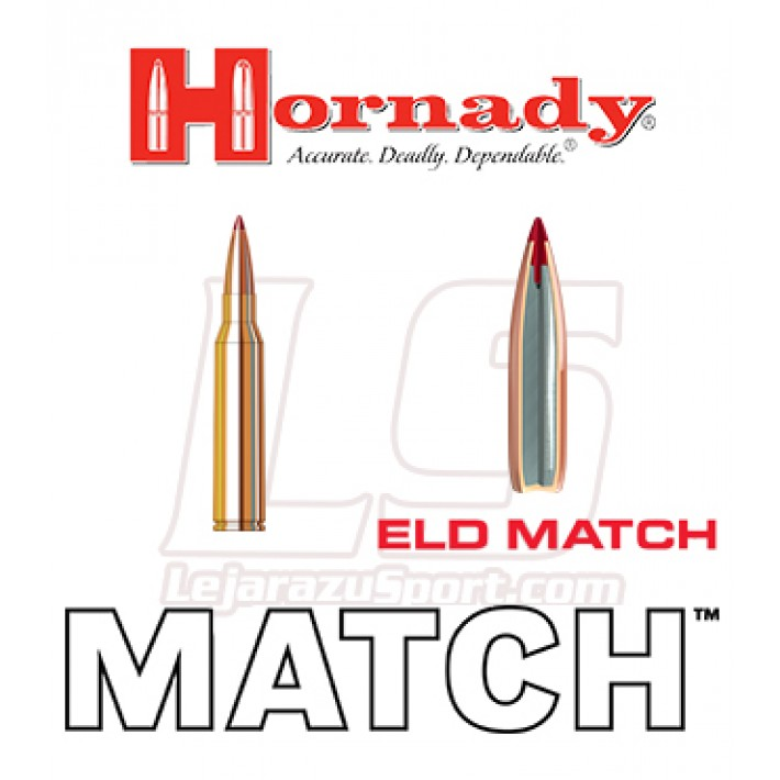 Cartuchos Hornady Match .338 Lapua Magnum 285 grains ELD Match