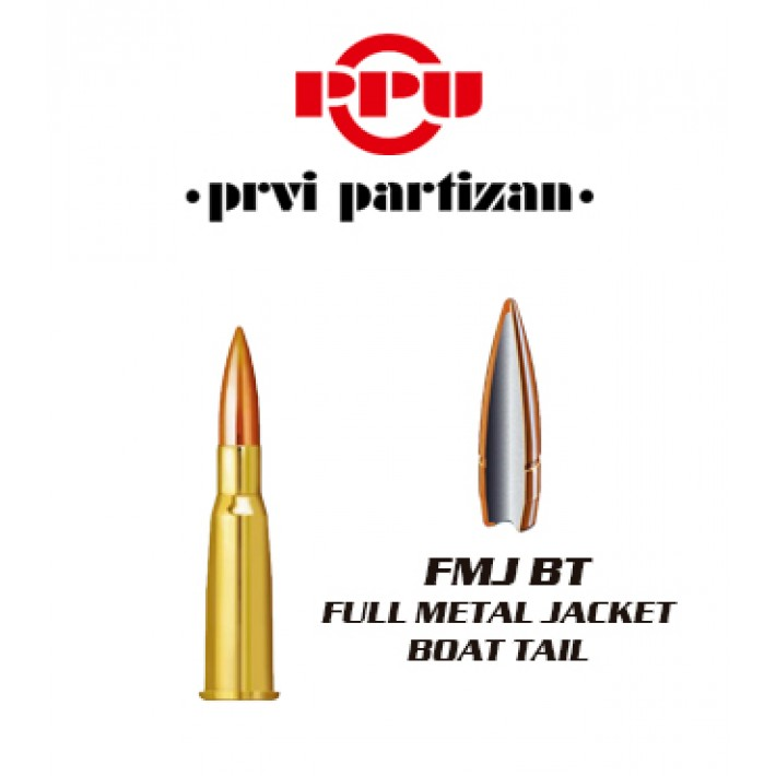 Cartuchos Prvi Partizan 8x51 R Lebel 200 grains FMJBT