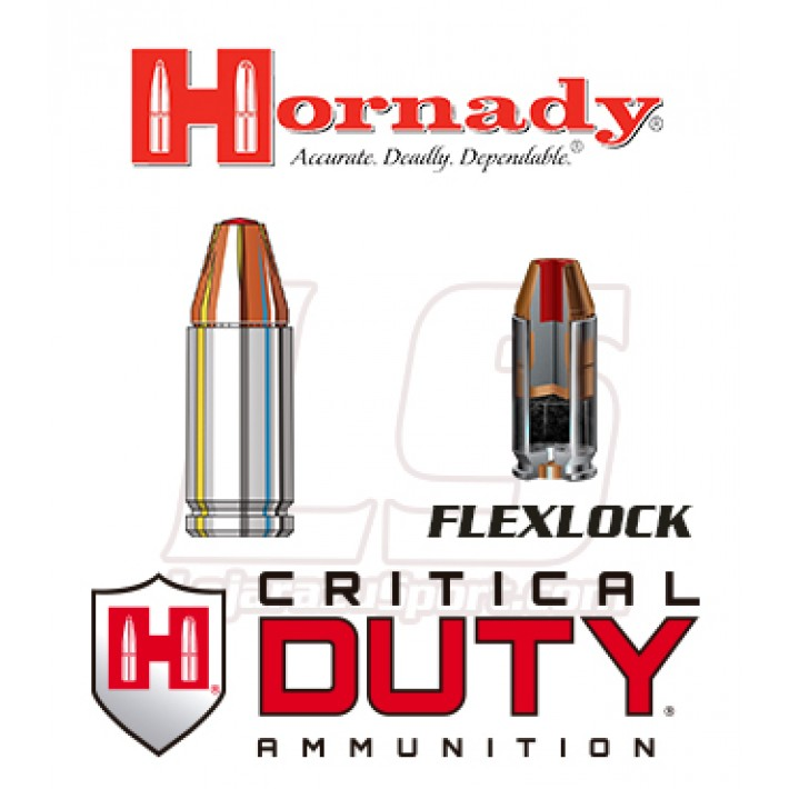 Cartuchos Hornady Critical Duty 9mm Luger +P 135 grains FlexLock