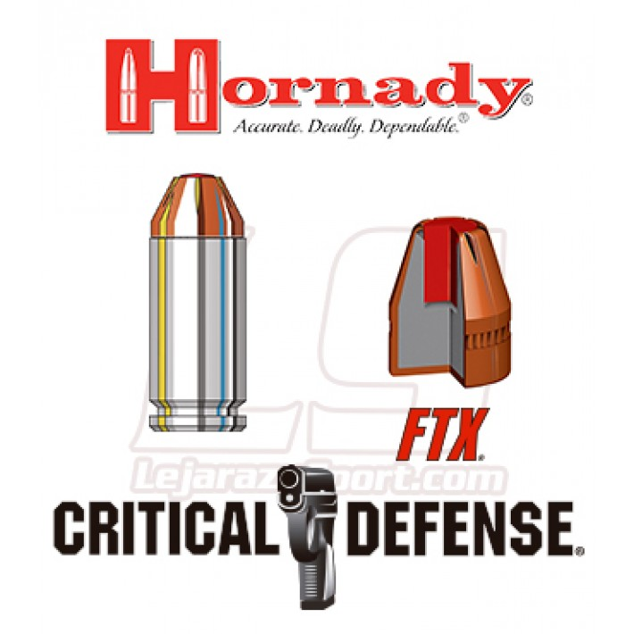 Cartuchos Hornady Critical Defense .40 S&W 165 grains FTX