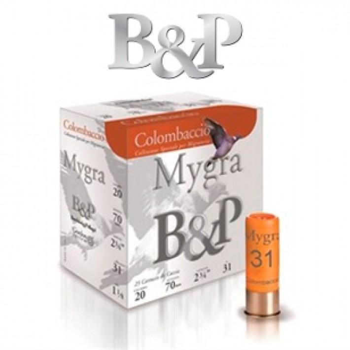 Cartuchos Baschieri & Pellagri Mygra Colombaccio calibre 20 31 gramos del 5 1/2