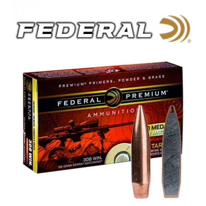 Cartuchos Federal Gold Medal .308 Winchester 168 grains HPBT