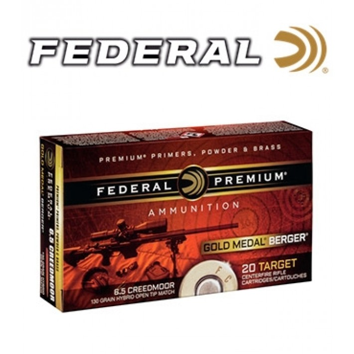 Cartuchos Federal Gold Medal Berger 6.5 Creedmoor 130 grains HPBT