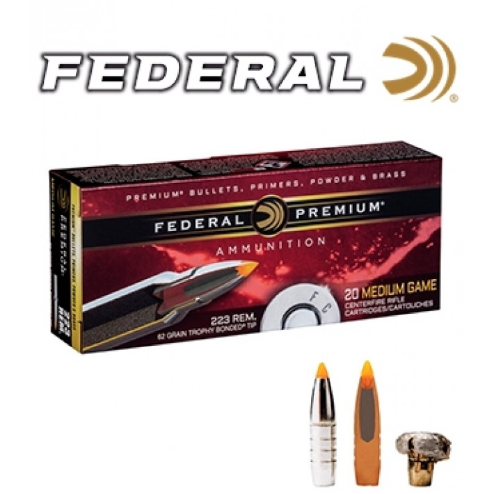 Cartuchos Federal Trophy Bonded Tip .223 Remington 62 grains Trophy Bonded Tip
