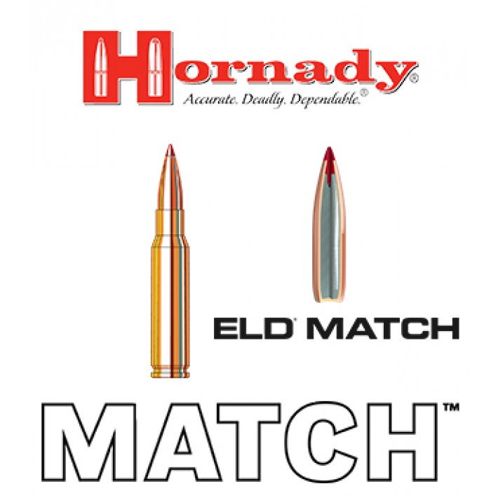 Cartuchos Hornady Match .308 Winchester 168 grains ELD Match