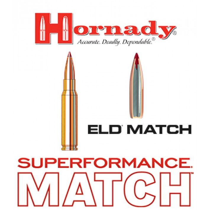 Cartuchos Hornady Superformance Match .308 Winchester 168 grains ELD Match