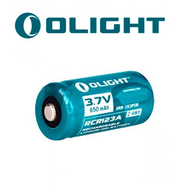 Batería recargable de litio Olight RCR123 de 3V y 650 mAh