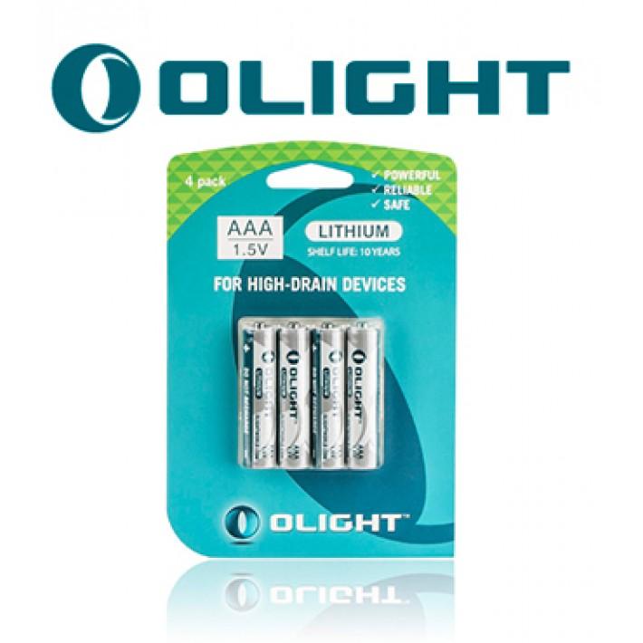 Batería de litio Olight AAA de 1.5V y 1100mAh pack de 4